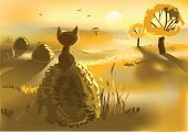 image of kitty  - Vector illustration of lonely kitty sitting on a haystack at dusk - JPG