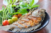 stock photo of plate fish food  - Fried fish in plate fast food in Thailand  - JPG