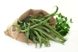 foto of green bean  - green beans in a sack on a white background - JPG