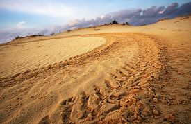pic of track field  - Motocross and auto sport track on blue sky background. Wheel tracks on sand ** Note: Shallow depth of field - JPG