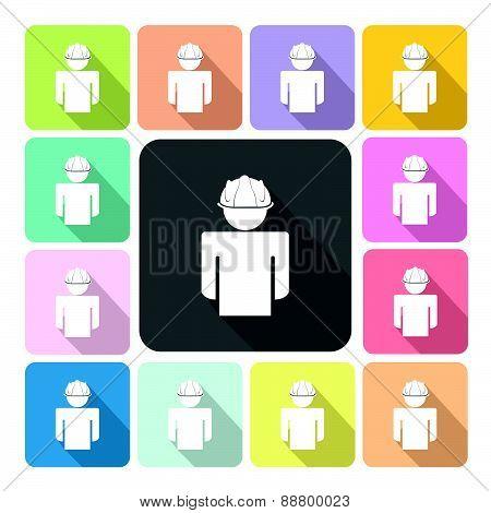 Engineer Icon Color Set Vector Illustration