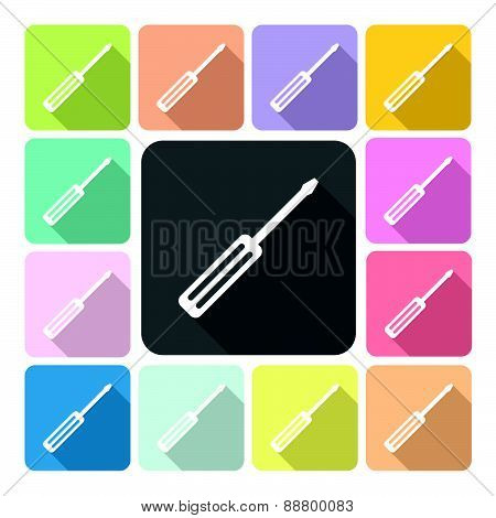 Screwdriver Icon Color Set Vector Illustration