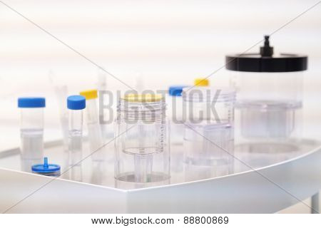 Laboratory equipment. Various glass chemistry lab equipment.