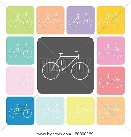 Bike Icon Color Set Vector Illustration