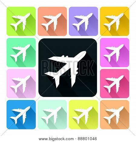 Plane Icon Color Set Vector Illustration