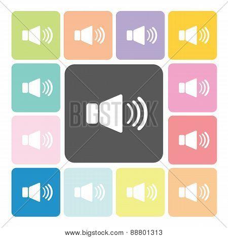Speaker Icon Color Set Vector Illustration