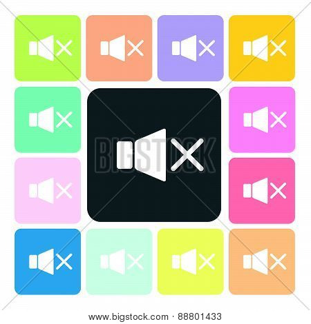 Speaker Icon Color Set Vector Illustration