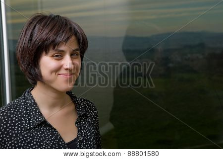 Portrait of a beautiful young woman at home