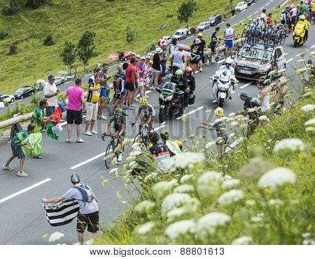 Two French Cyclists At Col De Peyresourde - Tour De France 2014