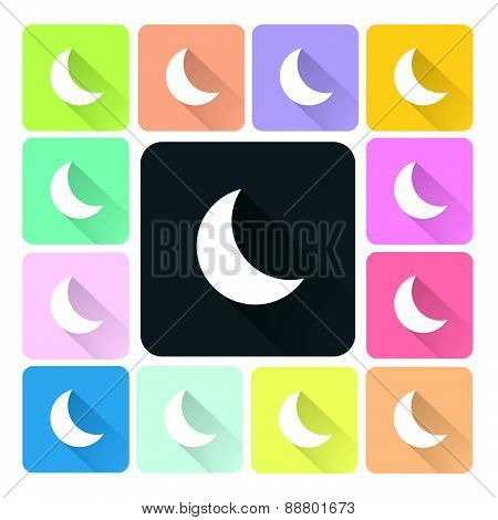 Moon Icon Color Set Vector Illustration