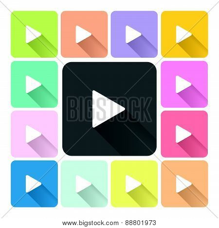 Play Icon Color Set Vector Illustration