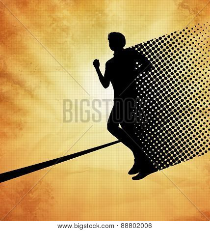 Vector image: male runner approaching the finishing line