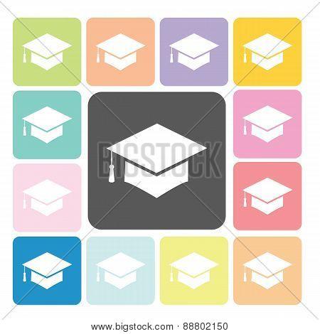 Graduation Cap Icon Color Set Vector Illustration