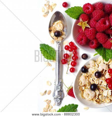 Healthy Breakfast. Oat flake, berries and fresh yogurt.