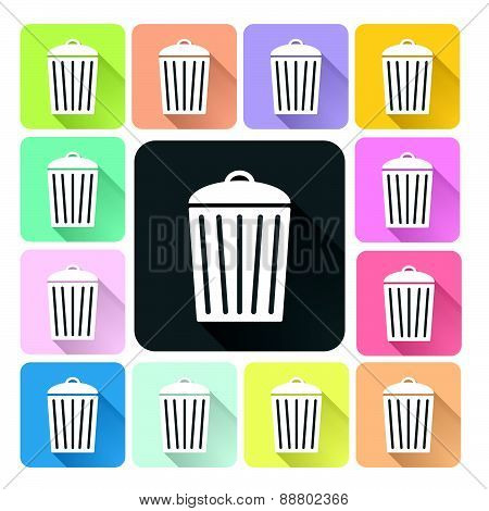 Bin Icon Color Set Vector Illustration