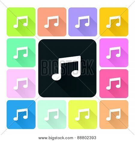 Music Icon Color Set Vector Illustration