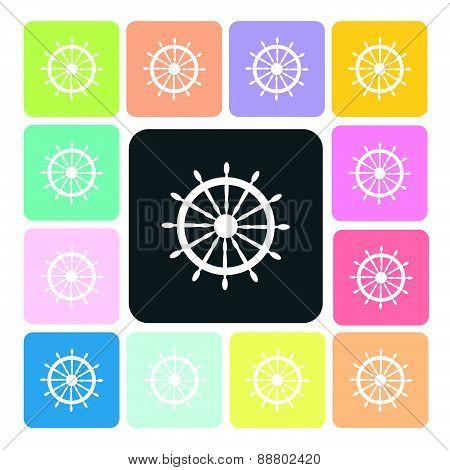 Rudder Icon Color Set Vector Illustration