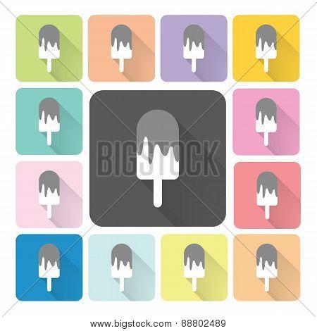 Ice Cream Icon Color Set Vector Illustration