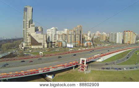 Buildings near the Zhivopisny bridge, Moscow, Russia, aerial view