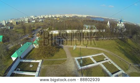 Royal Fodder Yard and Church of Kazan Icon of Mother of God in Museum-Reserve Kolomenskoye, aerial view