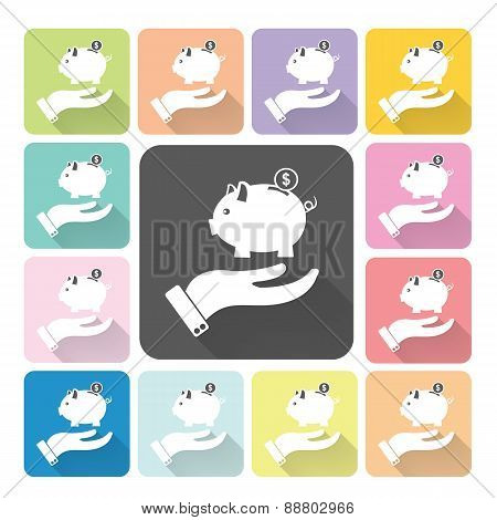 Hand Holding Piggy Icon Color Set Vector Illustration