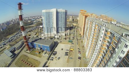 Residential buildings and Boiler house near the Moscow ring road, aerial view