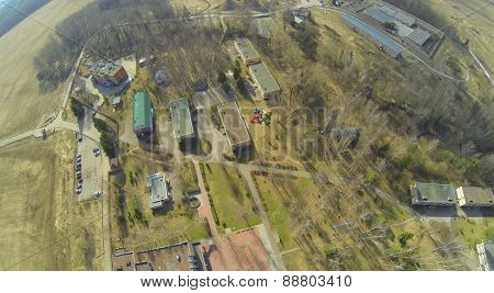 Buildings on the premises health camp for children at spring day, aerial view