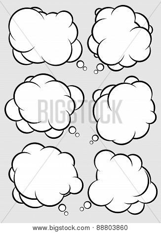 Abstract vector talking bubbles with withe fill