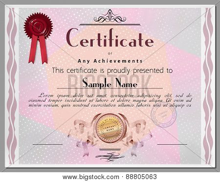 Gift Certificate, Diploma, Coupon, Award Of Course Completion Template With Swirl Border In Vector