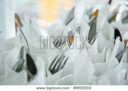 Cutlery In Napkins