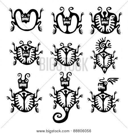 Set of black mites or beetles in native style, vector illustration