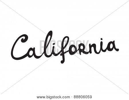 Hand-written word CALIFORNIA, lettering. Vector illustration