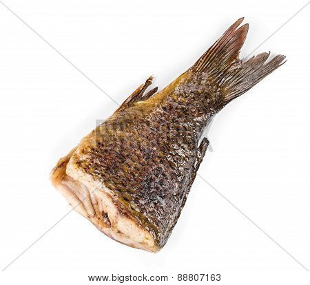 Grilled carp fish tail.