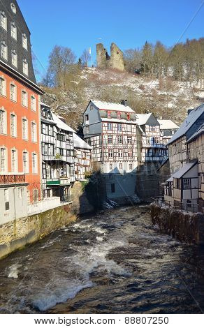 The Old Town of Monschau, Germany. City centre in snow winter.