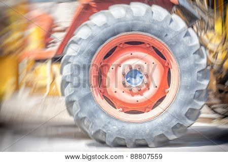 Driving Wheel In Old Tractor