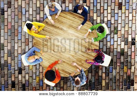 Business Casual Teamwork Discussion Meeting Planning Concept