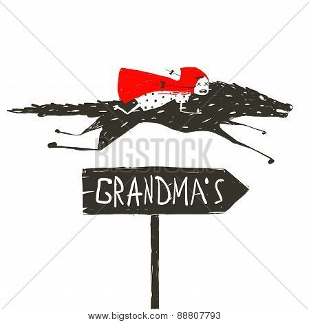 Red Riding Hood on Black Wolf Running to her Grandma