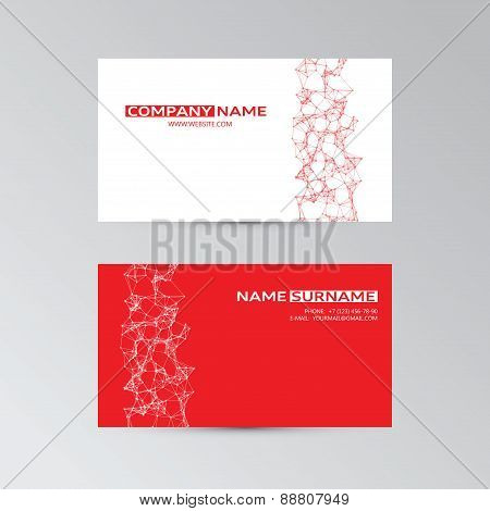 Red Template Of Business Card With Abstract Elements