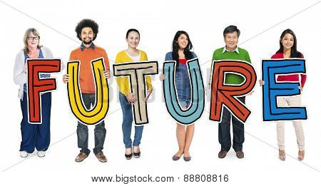 Group of Diverse People Holding Word Future