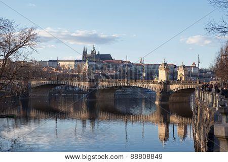 Bridge In Prague On A Sunny Day
