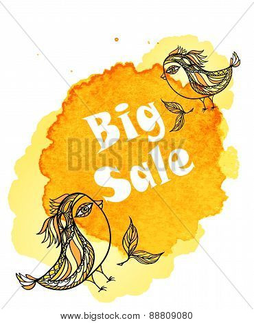Birds with inscription Big Sale