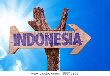 Indonesia wooden sign with sky background