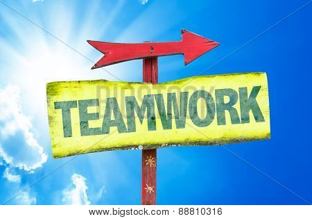 Teamwork sign with sky background