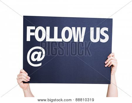 Follow Us with a copy space card isolated on white