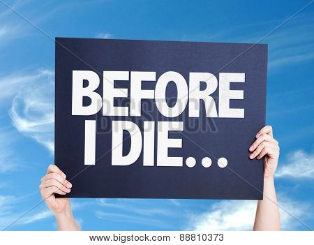 Before I Die... card with sky background