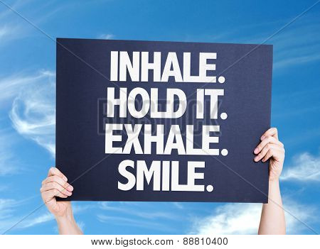 Inhale Hold It Exhale Smile card with sky background