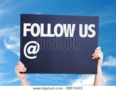 Follow Us with a copy space card with sky background
