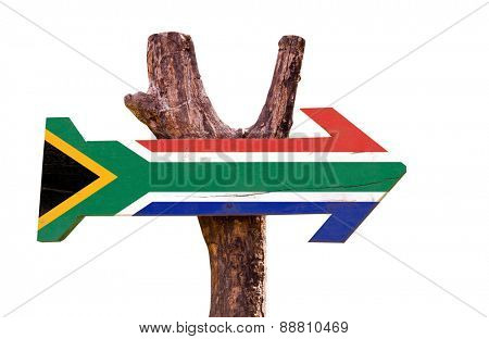 South Africa Flag wooden sign isolated on white background