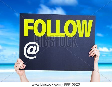 Follow with a copy space card with beach background