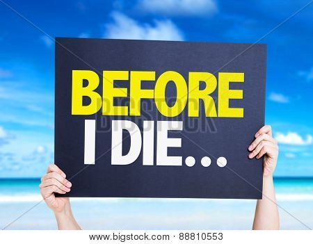 Before I Die... card with beach background